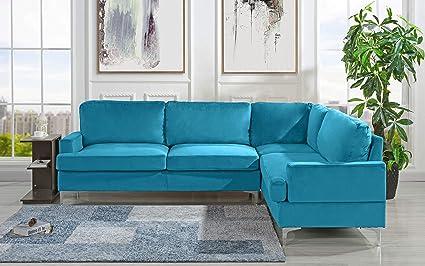 Velvet 101 1 Inch Sectional Sofa Classic Living Room L Shape Couch Sky Blue
