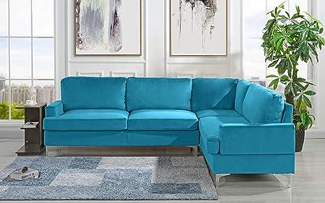 Amazon.com: Sofá seccional de terciopelo de 100.0 in, sofá ...