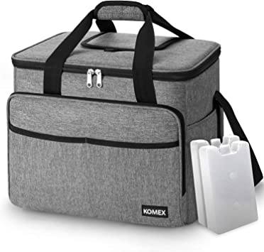 KOMEX 40-Can Large Soft Cooler Bag Collapsible and Insulated Soft Lunch Leakproof Cooler Bag with 2 Ice Packs for Outdoor Travel Camping Hiking Beach Picnic BBQ Party