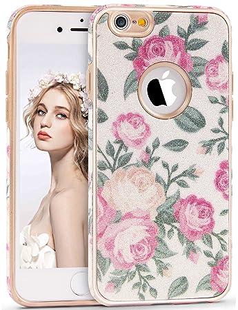 3054dfaac5 Imikoko iPhone 6 ケース / iPhone 6s ケース TPU 花柄 衝撃 おしゃれ かわいい 薄 アイフォン