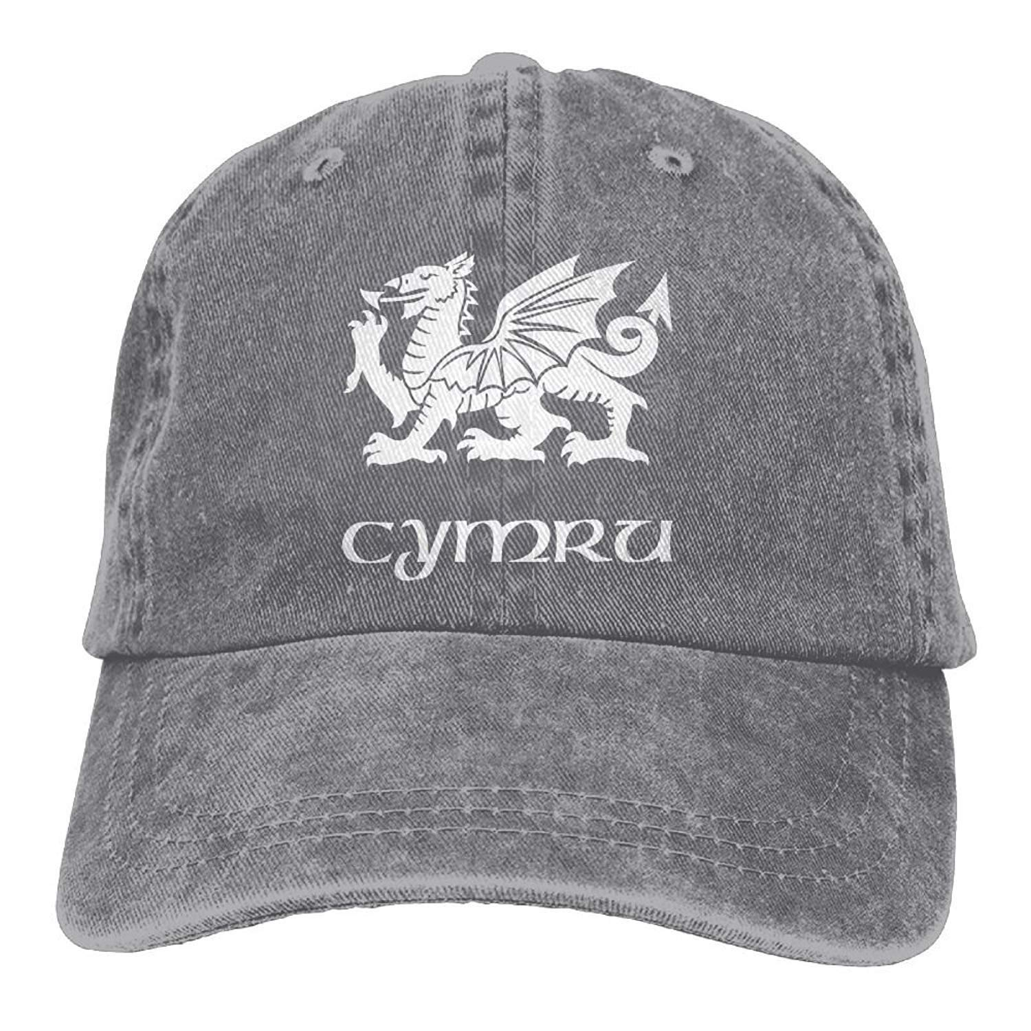 Cymru Red Dragon Welsch Flag Plain Adjustable Cowboy Cap Denim Hat for Women and Men JTRVW Cowboy Hats