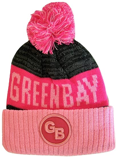 7a1712fbc3722 Green Bay GB Patch Ribbed Cuff Knit Winter Hat Pom Beanie (Pink Hot Pink  Patch)  Amazon.in  Clothing   Accessories