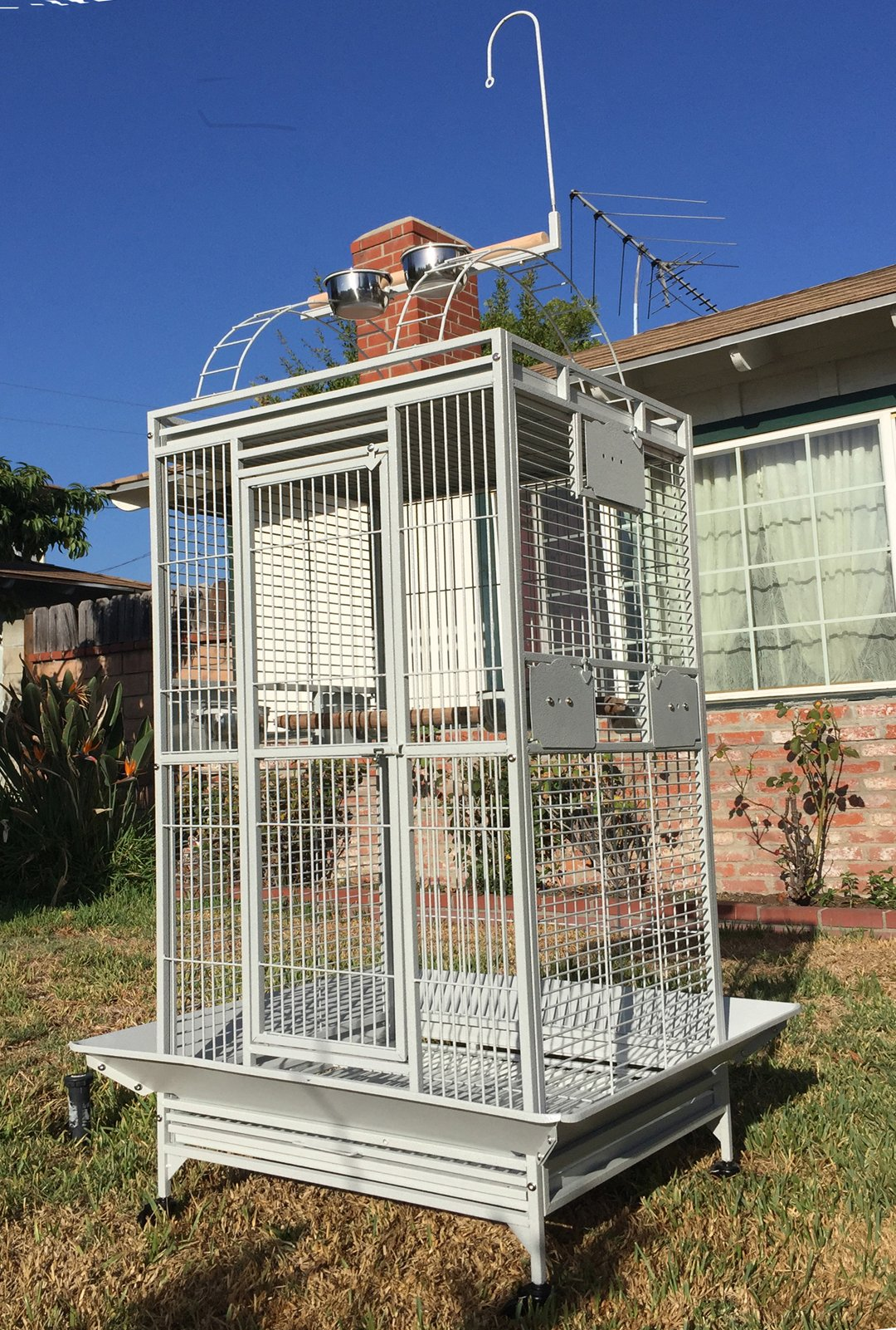 Large Double Ladders Open Play Top Wrought Iron Bird Parrot Parakeet Finch Macaw Cockatoo Cage, Include Seed Guard and Toy Hook (WhiteVein) by Mcage