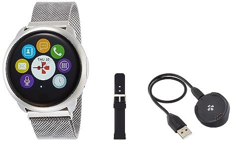 MyKronoz ZeRound - Reloj Inteligente/Pulsera de Fitness, Unisex, Smartwatch Fitnesstracker ZeRound Premium mit Metallarmband, Silber ...