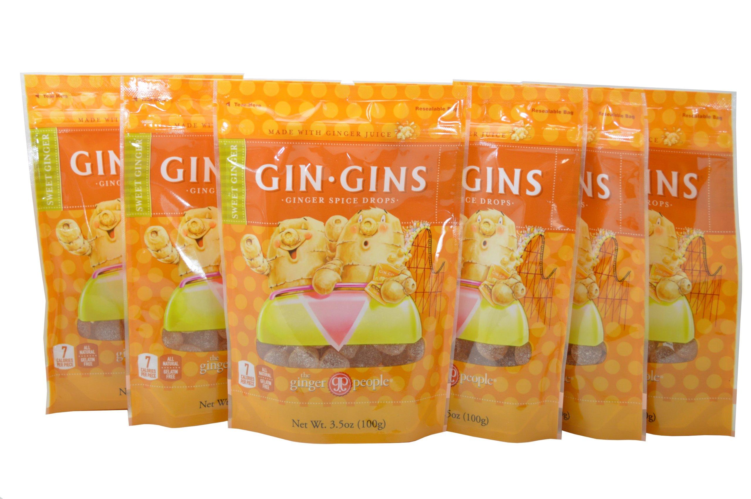 Gin-Gins Ginger Spice Drops 3.5 Oz Bag Sweet Ginger (Pack of 6)
