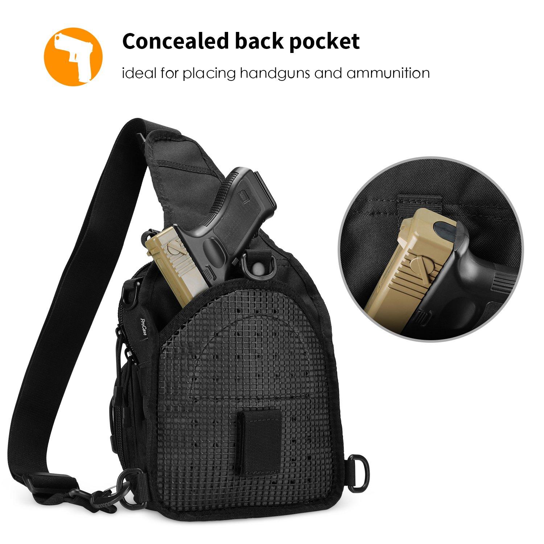 Black Camping and Trekking ProCase Tactical Sling Bag Pack Military Rover Shoulder Sling Backpack Outdoor Sport Chest Pack Bag Multifunctional Daypack for Hunting