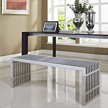 Modway Medium Gridiron Stainless Steel Bench