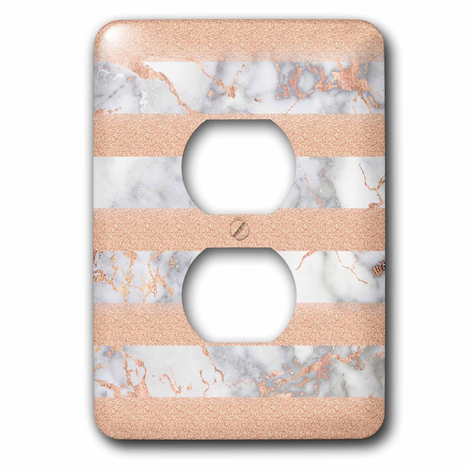 3dRose Uta Naumann Faux Glitter Pattern - Luxury Grey Copper Glitter Stripes Stone Marble Metallic Faux Print - Light Switch Covers - 2 plug outlet cover (lsp_268843_6)