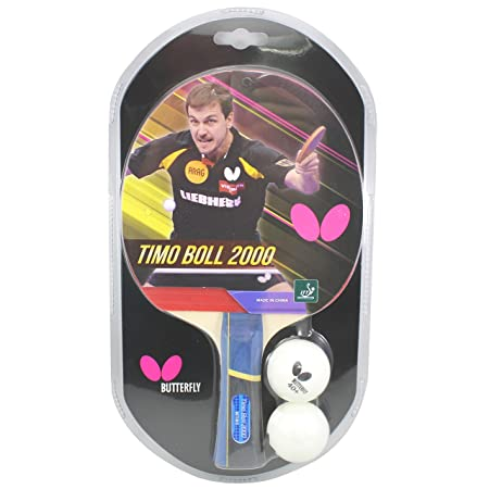 Butterfly Timo Boll Table Tennis Racket – 1 Ping Pong Paddle 2 Ping Pong Balls – Sponge and Rubber Ping Pong Racket – 3 Grip Color and Sponge Thickness Models – ITTF Approved For Table Tennis Tournaments