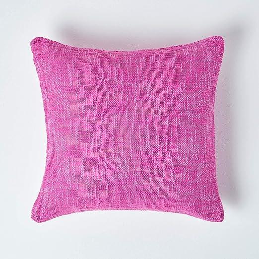 HOMESCAPES - Funda de cojín Rosa Cereza con Relleno de algodón Puro de Nirvana, 45,7 x 45,7 cm, con Colcha y Mantas a Juego: Amazon.es: Hogar
