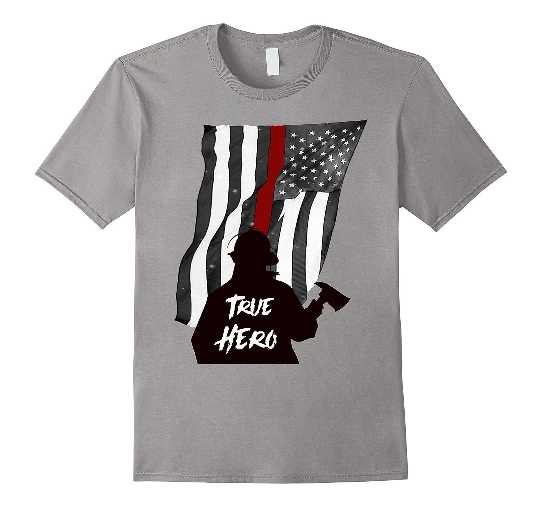 Thin Red Line Flag Shirt Firefighter Hero Tee-T-Shirt