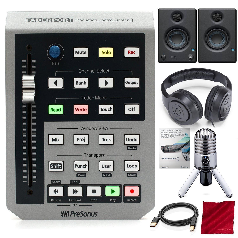 PreSonus FaderPort USB DAW Controller with Studio One 3 Professional Software Upgrade, Studio Monitors, and Premium Music Creation Studio Bundle