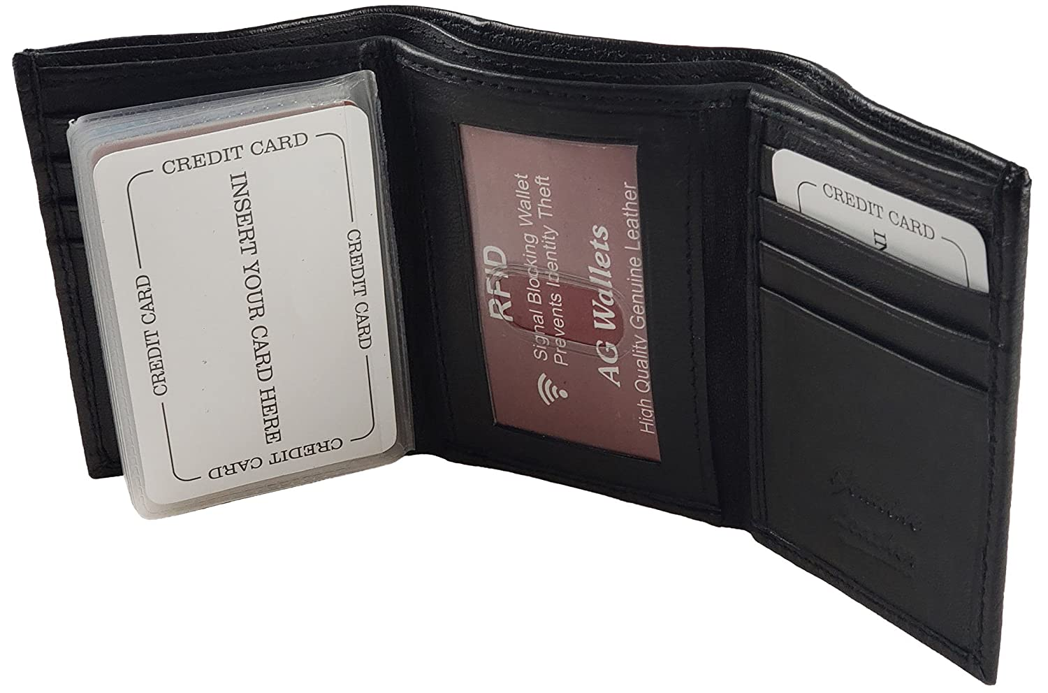 a5f21aea1600 AG Wallets RFID Signal Blocking Genuine Leather Trifold Wallet for Men  (Black)