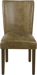 HomePop Parsons Dining Chair - Distressed Brown Faux Leather - Set of 2
