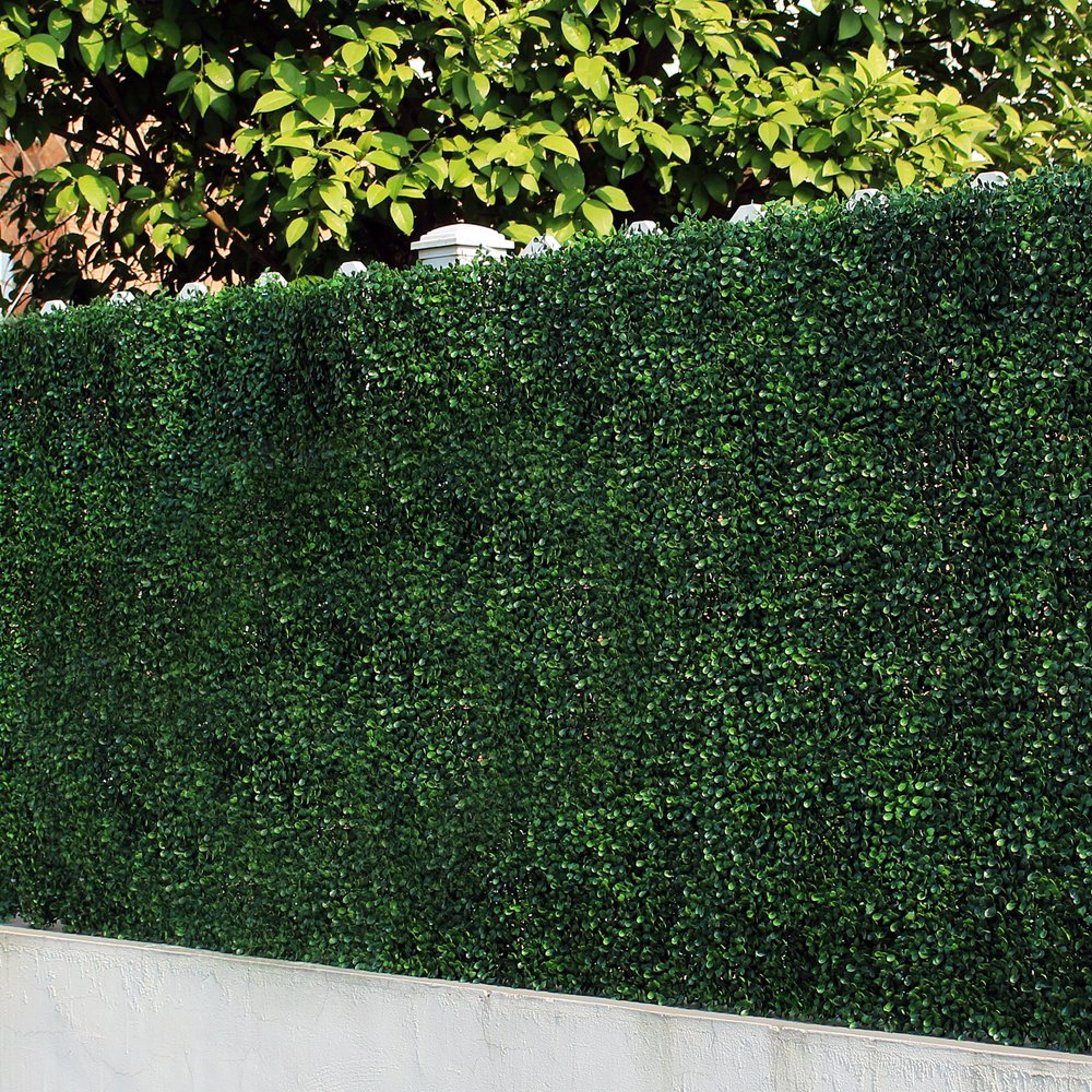 Artificial Boxwood Panels, Fake Green Ivy Plant, Decorative Privacy Fence Screening, Outdoor Garden Hedge Fence Covering, Greenery Wedding Backdrop, Pack of 6pcs 20