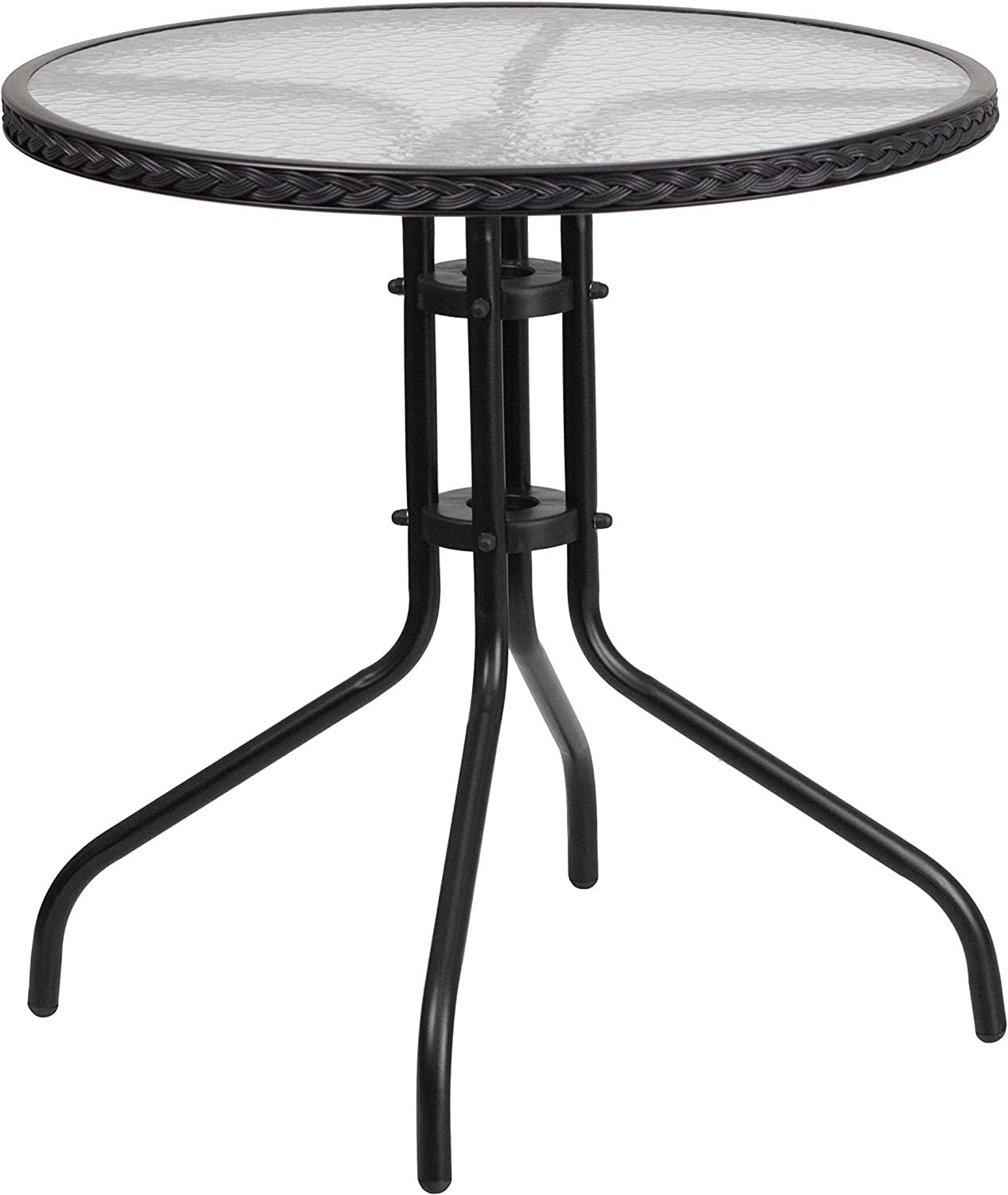 Flash Furniture 28'' Round Tempered Glass Metal Table with Black Rattan Edging: Furniture & Decor