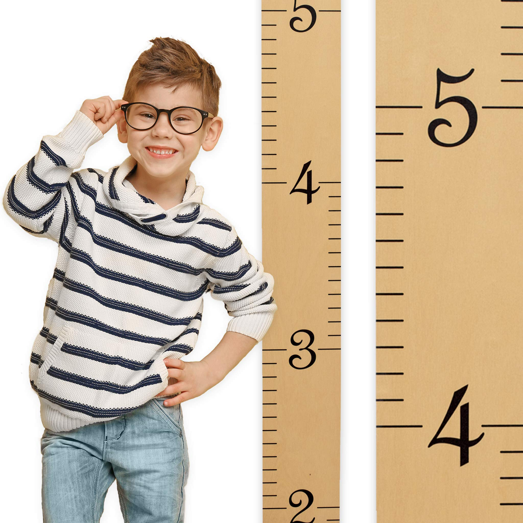 Growth Chart Art | Growth Chart Ruler Kids Height Chart for Boys + Girls | Measuring Kids Height Wall Décor | Honey Maple Ruler with Black Numerals