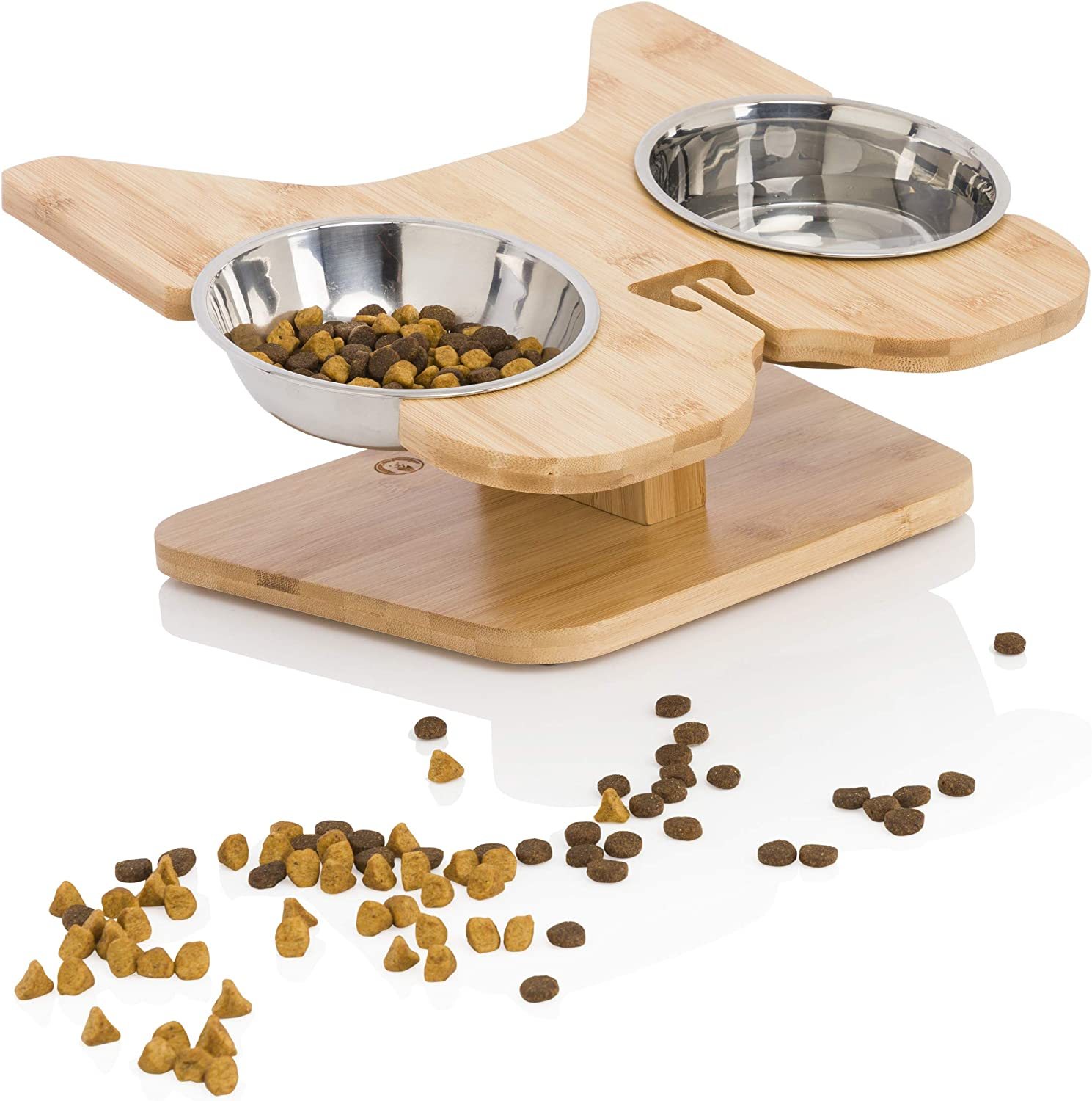 NibbleyPets Elevated Dog Bowl Stand with Stainless-Steel Food and Water Bowls (3 Pc. Set) | Stand-Up Eating and Drinking | Pet Friendly Ergonomic Design | Perfect for French Bulldogs, Pugs