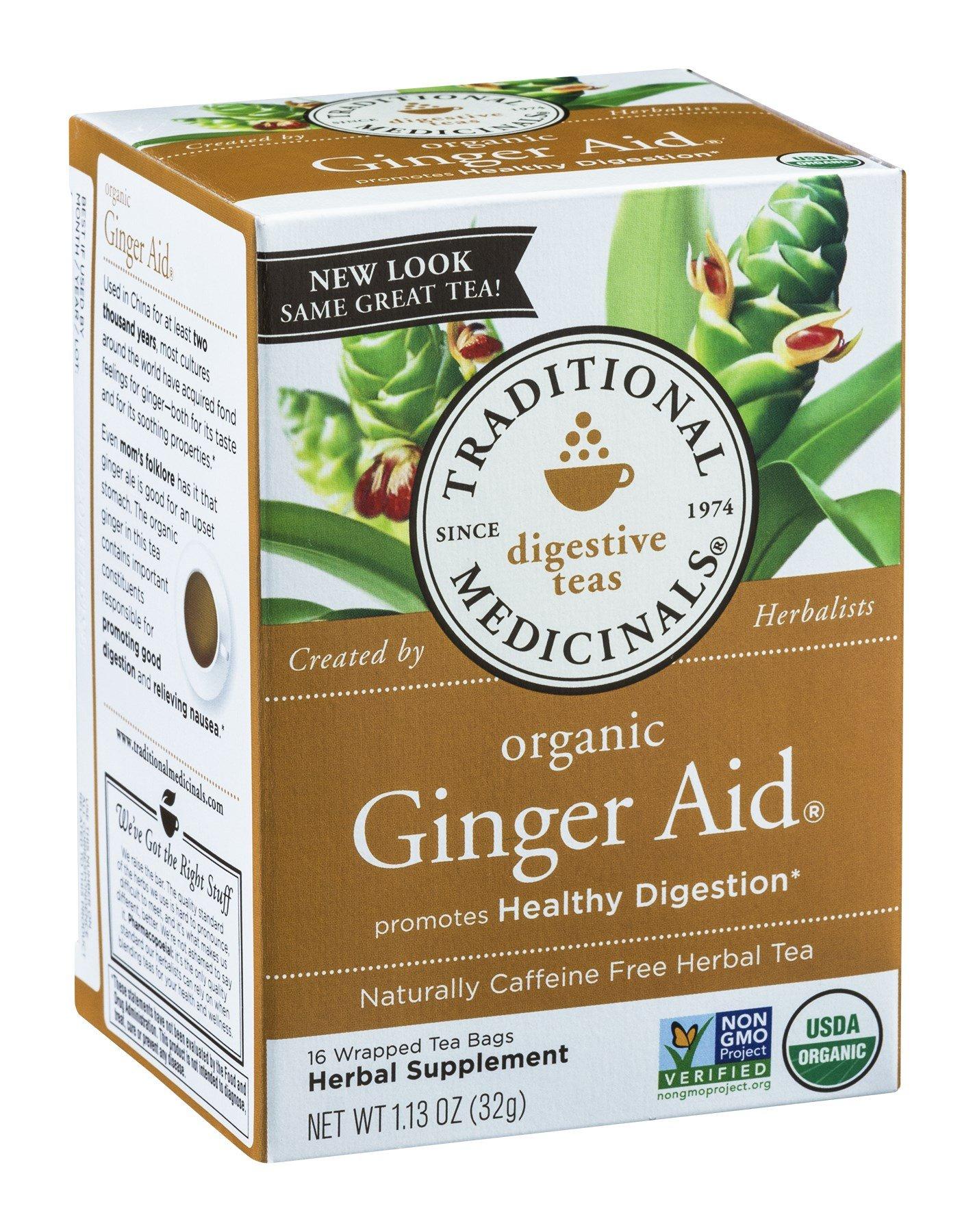 Traditional Medicinals Herb Tea Og2 Ginger Aid 16 Bag