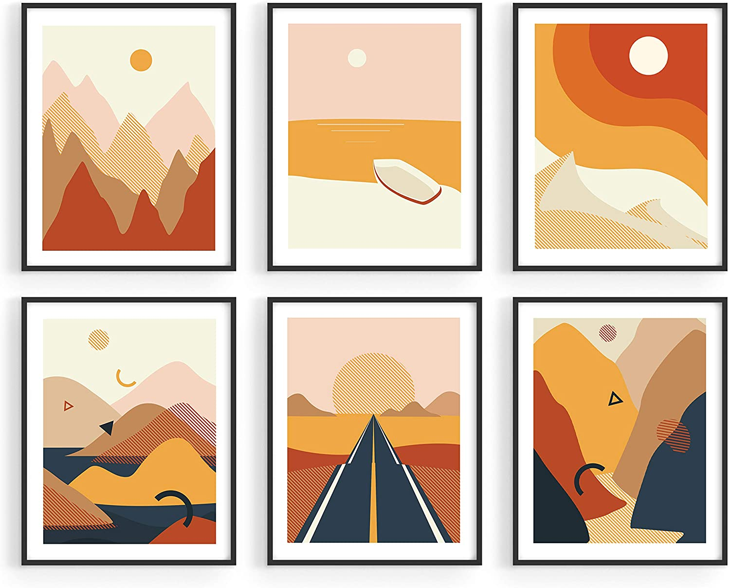 Amazon Com Haus And Hues Abstract Minimalist Landscape Wall Art Prints 8 X10 Set Of 6 Modern Aesthetic Mountain Wall Art Posters Minimal Geometric Nature Paintings For Living Room Entryway Bedroom Unframed