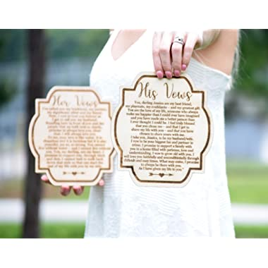 Wedding Vow Cards - His & Hers Vow Book - Vow Books - Wood Vow Book - Rustic Wedding Decor - Vow Booklet Wedding Vows Book Wedding Vow Book