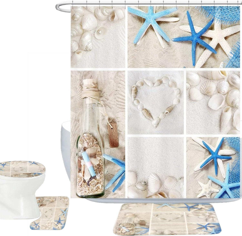 Blue Starfish Seashell Shower Curtain Set
