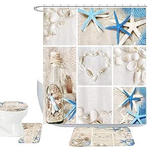 Amagical Blue Starfish Seashell Conch 16 Piece Shower Curtain Bathroom Mat Set Wishing Bottle Love Stone Design Bath Mat + Contour Mat + Toilet Cover + Shower Curtain + 12 Hooks (Blue Starfish)