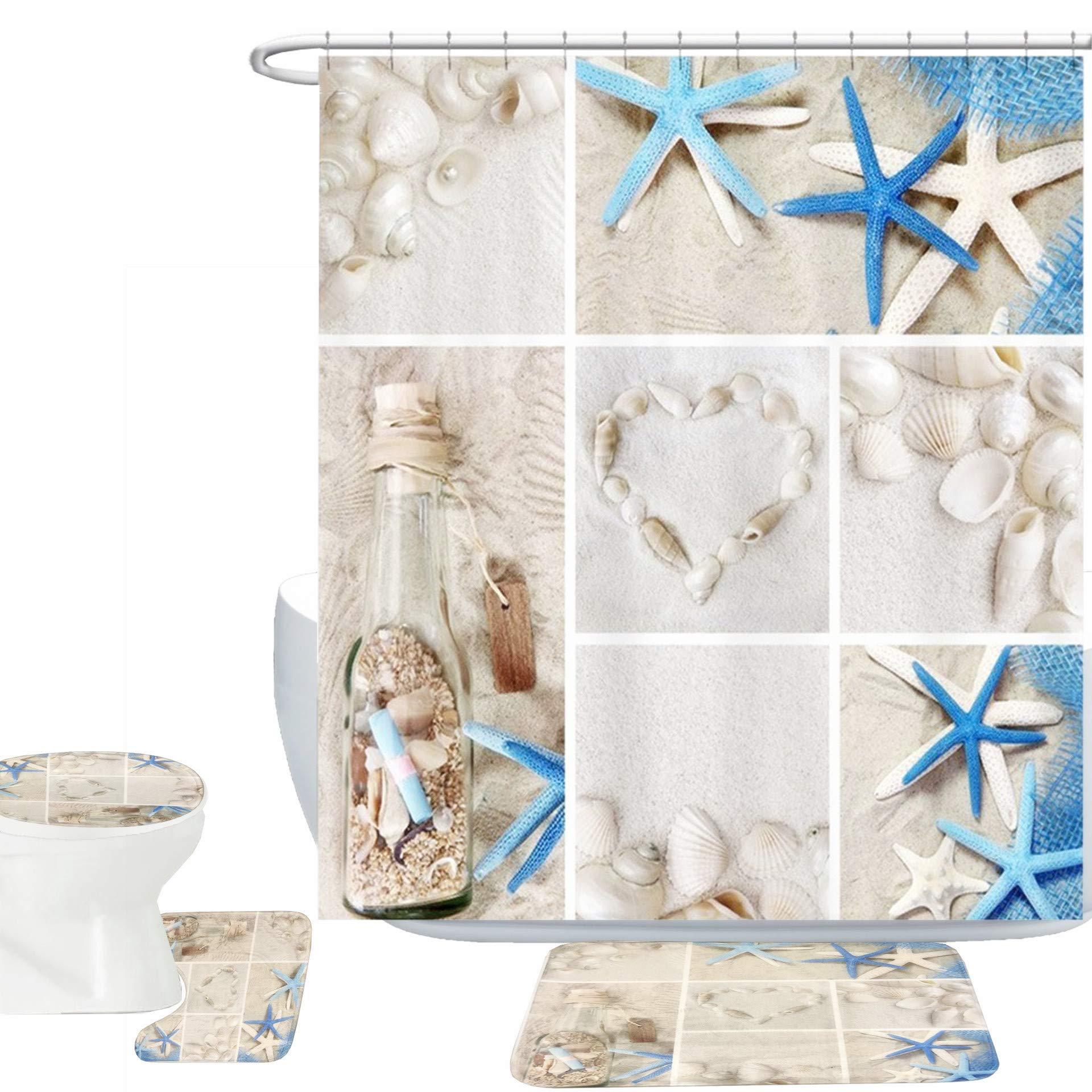 Amagical Blue Starfish Seashell Conch 16 Piece Shower Curtain Bathroom Mat Set Wishing Bottle Love Stone Design Bath Mat + Contour Mat + Toilet Cover + Shower Curtain + 12 Hooks