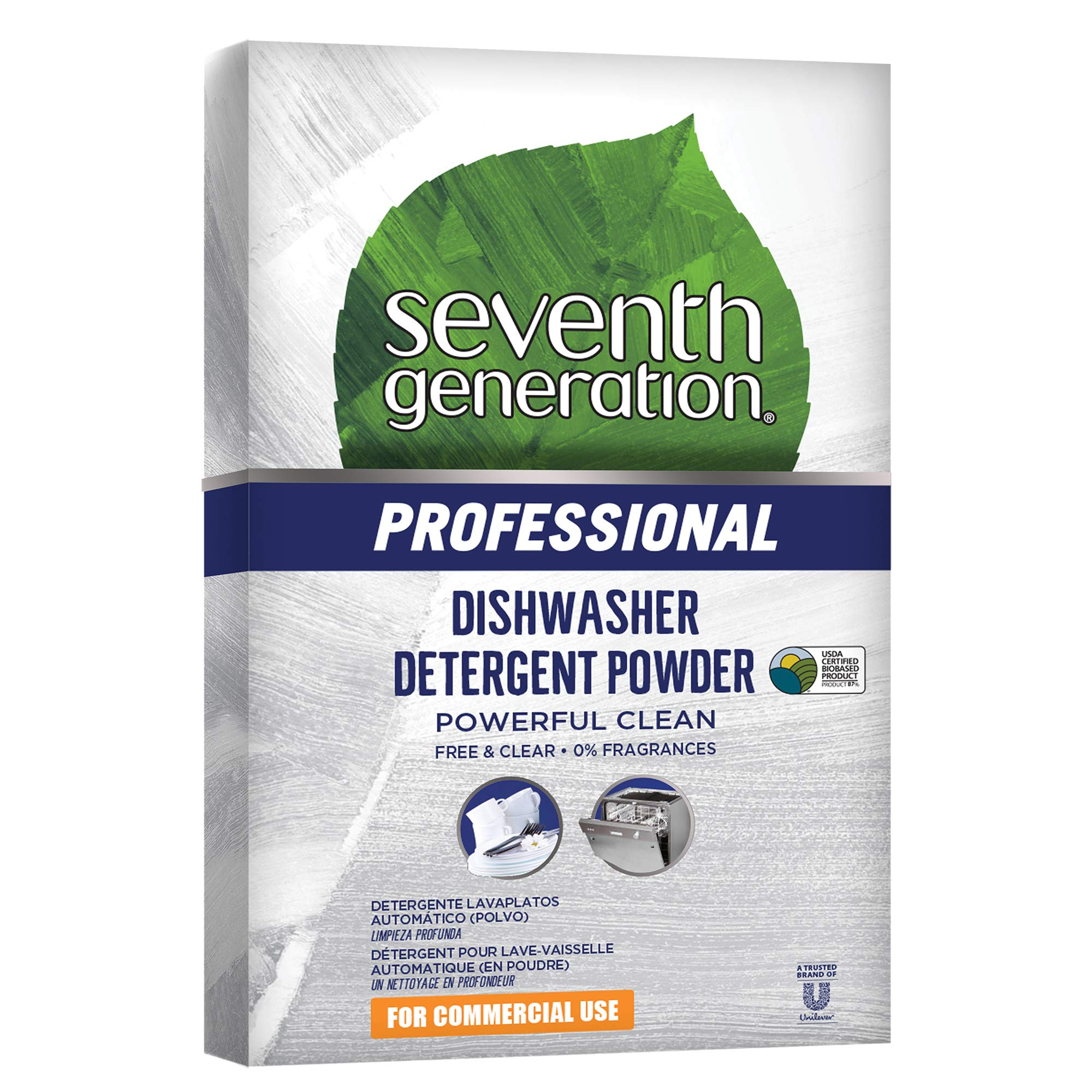 Seventh Generation Professional Dishwasher Detergent Powder, Unscented, 75 Ounce (Pack of 8)