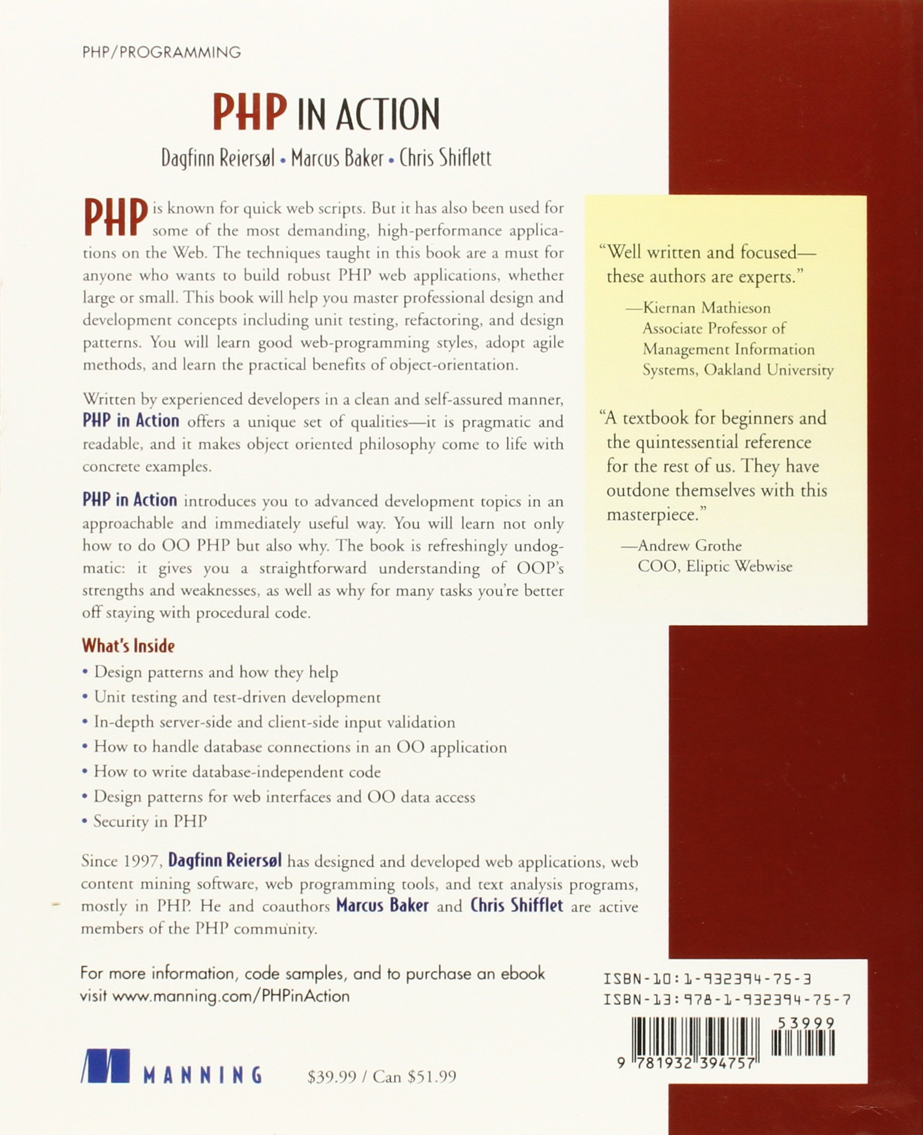PHP In Action Objects Design Agility Dagfinn Reiersol Marcus - Us zip code validation php
