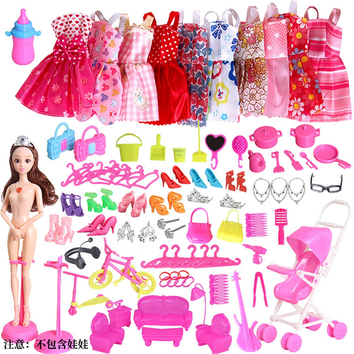 60 pcs Accessories Dolls Clothes for Doll Dresses Spree for Barbie Doll (Random) Only sky