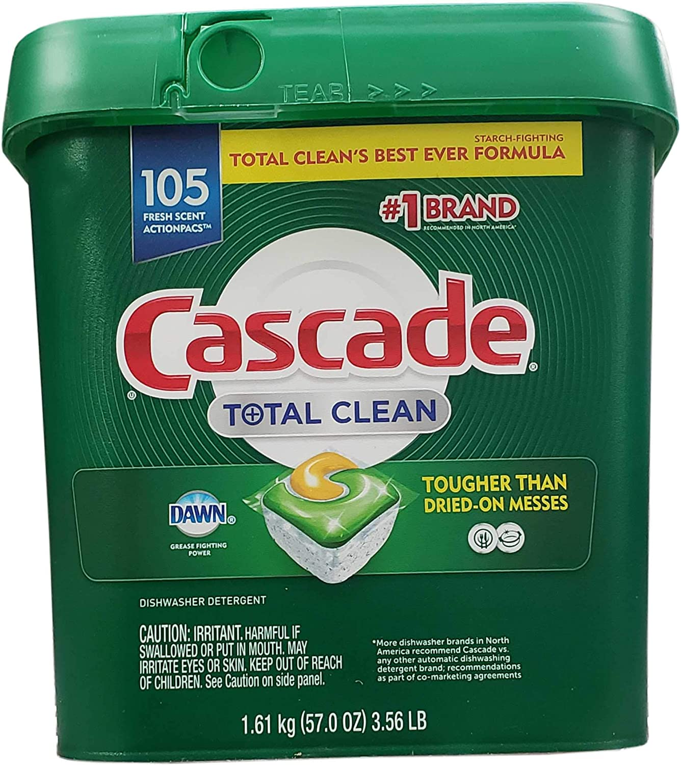 Cascade Total Clean Dishwasher Detergent Fresh 105 Scent ActionPacs Net Wt 57 Ounce