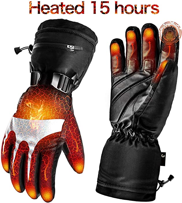 Battery Heated Gloves for Men Women,Rechargeable Electric Gloves Heating Gloves for Motorcycle,Ski,Hunting,Riding,Snowmobile
