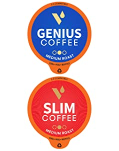 Vitacup Genius & Slim Coffee 128 Pod Bundle | Superfood & Vitamins B1, B5, B6, B9, B12 Infused | Variety Pack of (2) 16 Count Single Serve Pods Compatible with K-Cup Brewers