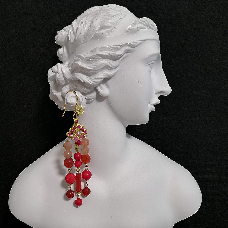 Serie de Diosas Griegas 2020: Hestia - Pendientes artesanales de rubí y granate y turmalina rosa y jade rojo y piedra del sol y coral en ganchos chapados en oro