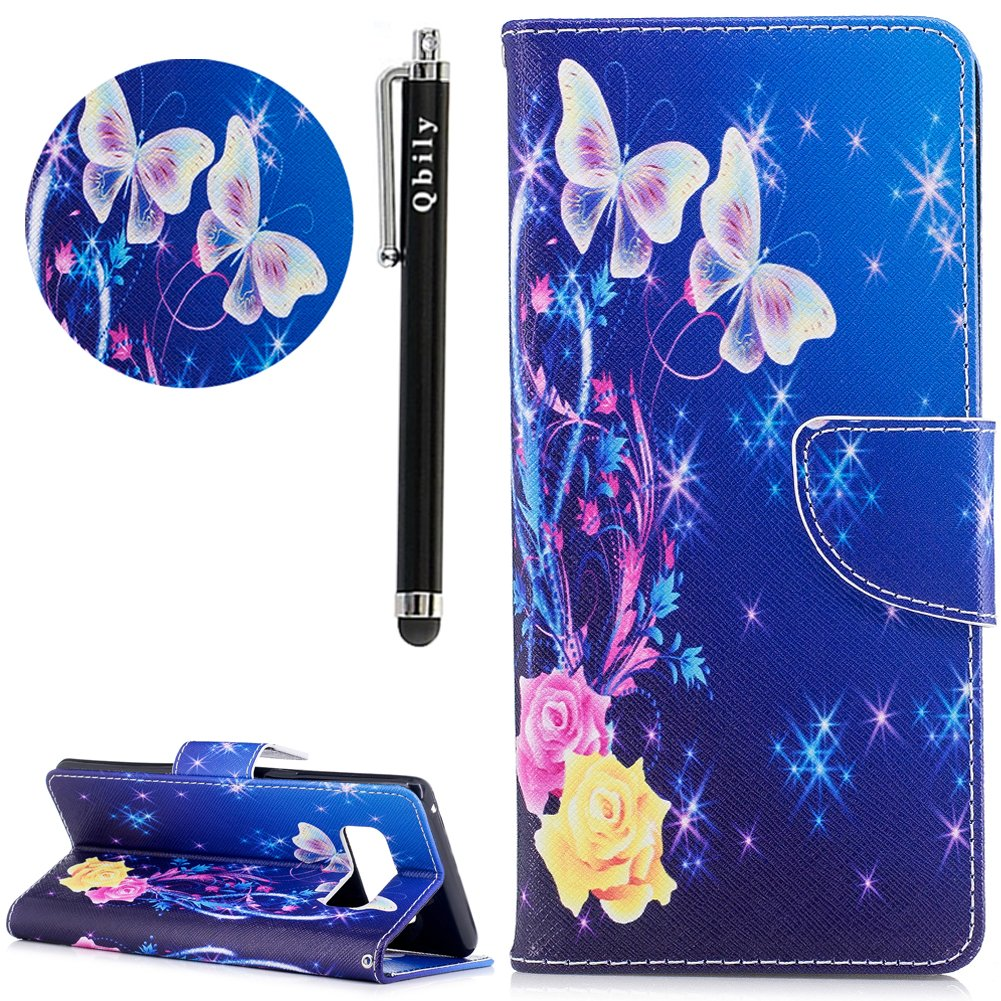 Galaxy Note 8 Case,Note 8 Case with Stylus Pen,Qbily Floral Butterfly Luxury Glitter Bling Leather Flip Kickstand Cover Wallet Case [Card Slots Holder/Magnet] Cute Girls Women Protective Case Blue