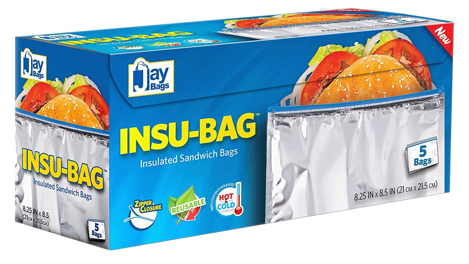 Amazon.com: Pack of 5 Insulated Sandwich Bags/Will Keep Sandwiches ...