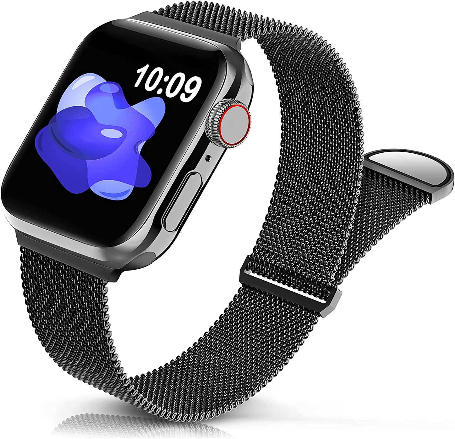 Sunnywoo Metal Stainless Steel Band Compatible with Apple Watch Bands 38mm 40mm 42mm 44mm,Black Loop Adjustable Strap Magnetic Replacement Wristband for iWatch Series 6 5 4 3 2 1 SE for Women Men