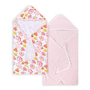 Burt's Bees Baby - Hooded Towels, Absorbent Knit Terry, Super Soft Single-Ply, 100% Organic Cotton 2 Pack), Rosy Spring, 2 Pack