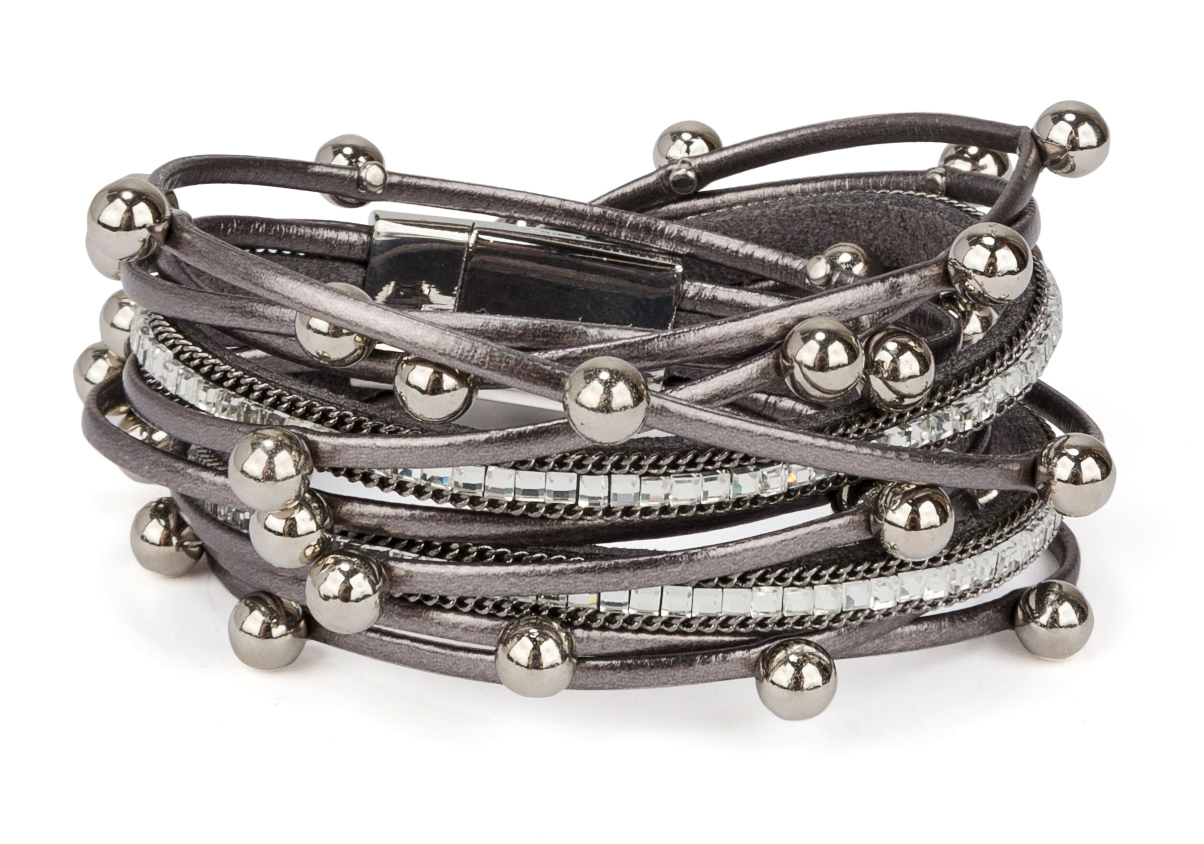 SPUNKYsoul New! Classy Bracelet Multi Strand in Gunmetal with Rhinestones, Orbs & Magnet Clasp for Women Collection by SPUNKYsoul