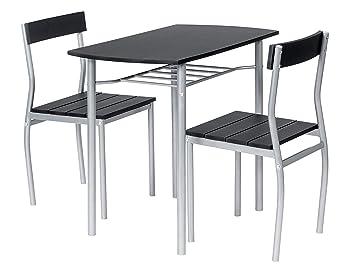 ts-ideen 2822 Set 3 Pezzi Tavolo con 2 sedie in Alluminio e MDF ...