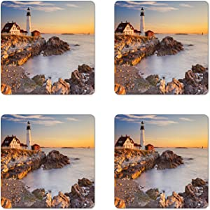 Ambesonne United States Coaster Set of 4, Cape Elizabeth Maine River Portland Lighthouse Sunrise USA Coast Scenery, Square Hardboard Gloss Coasters, Standard Size, Blue Tan