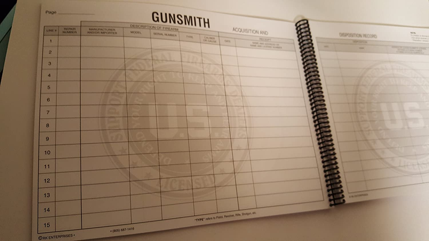 Amazon.com : Gunsmith Record Book (1000 Entry) : Office Products
