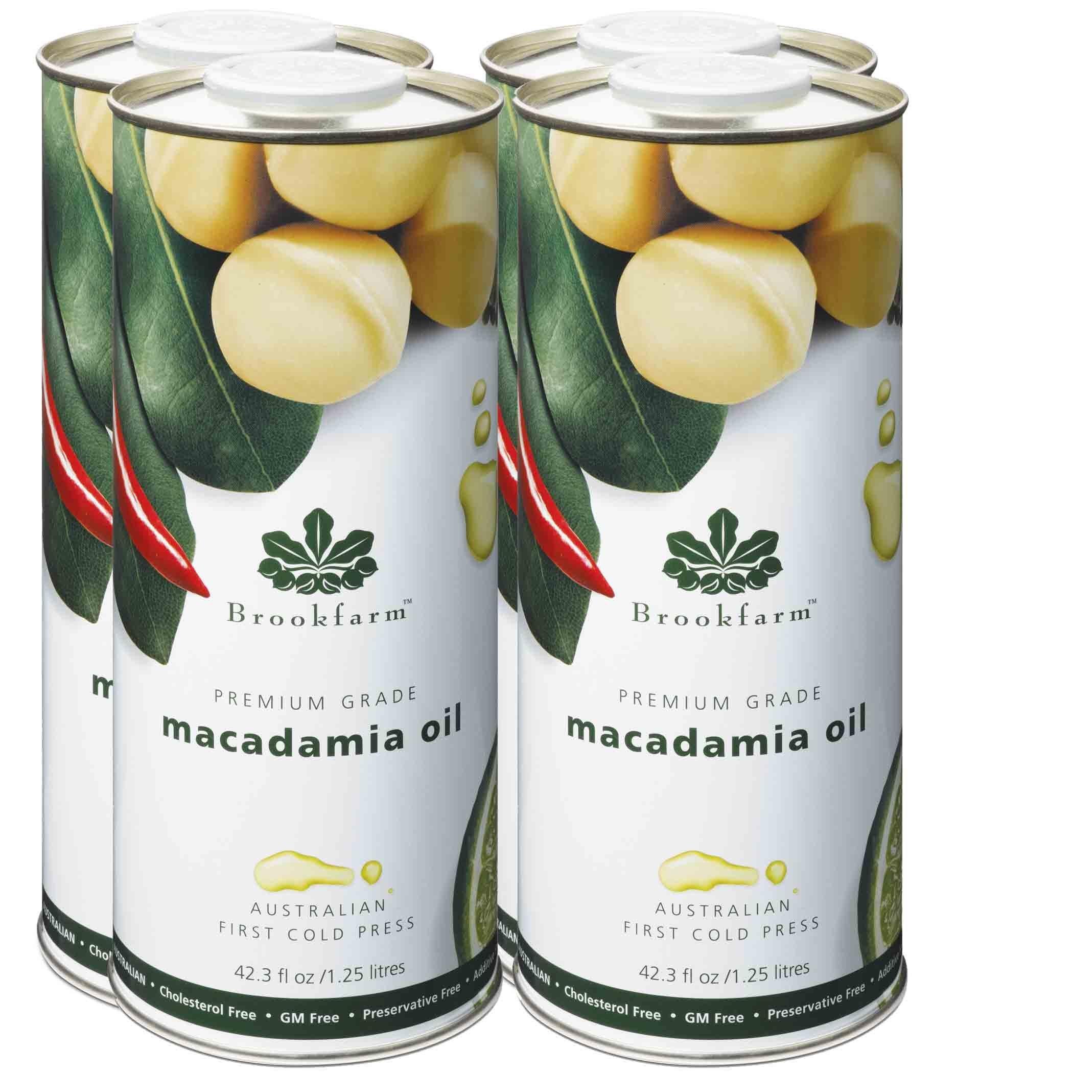 Brookfarm Natural Macadamia Oil, Premium-Grade 43.3 fl oz (1.25l), 4-Pack by Brookfarm