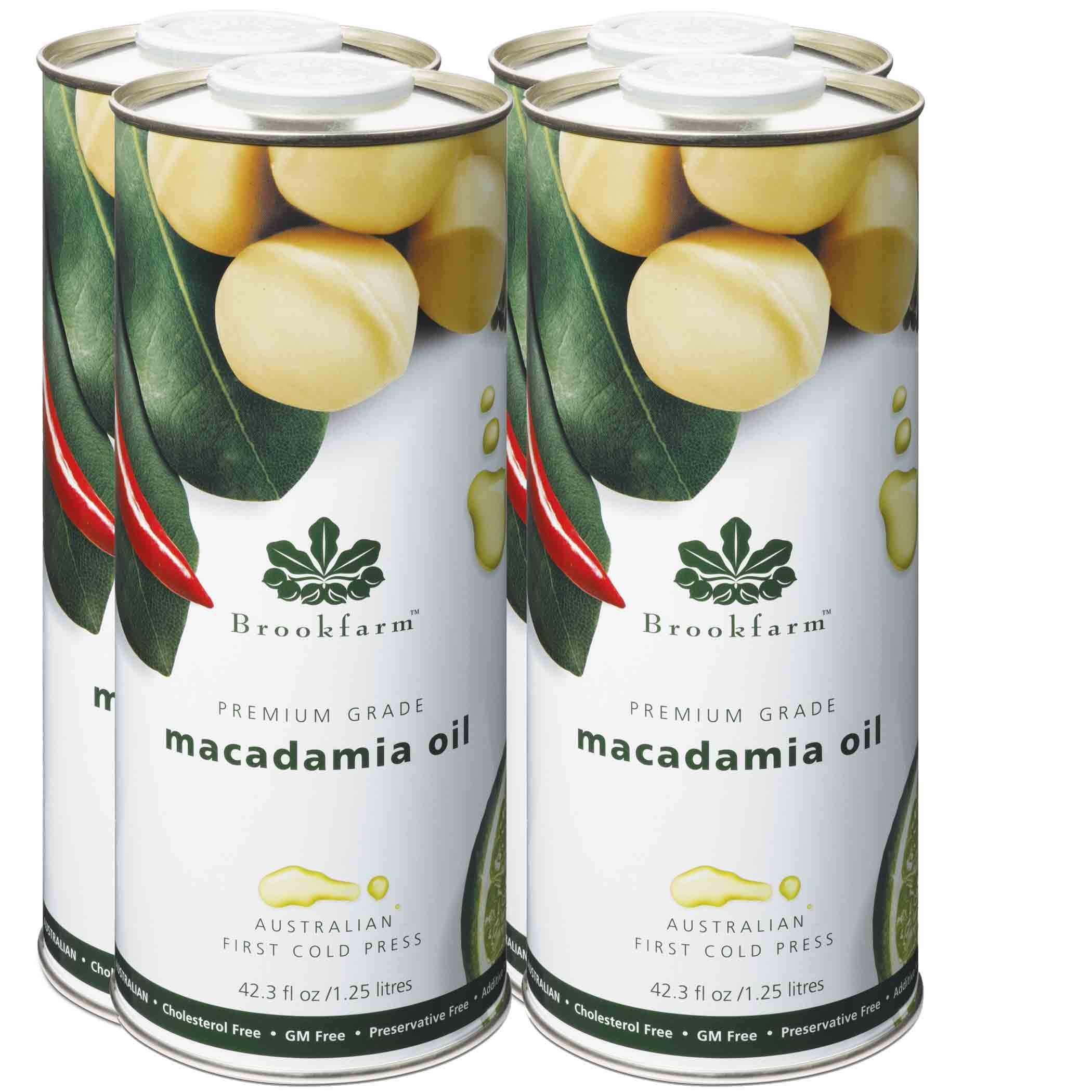 Brookfarm Natural Macadamia Oil, Premium-Grade 43.3 fl oz (1.25l), 4-Pack