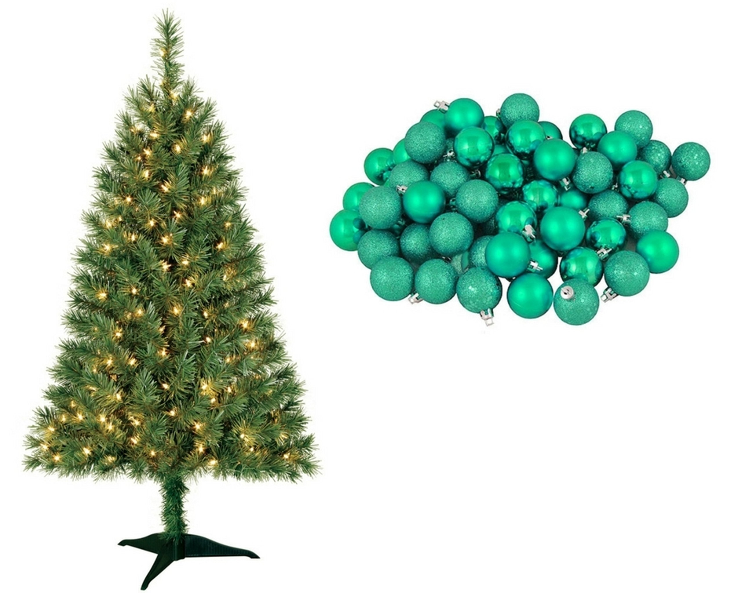 Pre-Lit 4Ft Clear-Lights Spruce Artificial Christmas Tree with 96 Count Green Ball Ornaments by Holiday Time