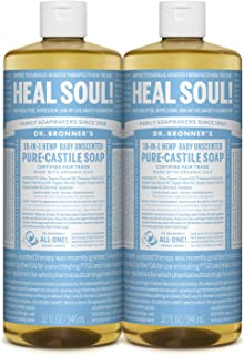 product image for Dr. Bronner's - Pure-Castile Liquid Soap (Baby Unscented, 32 ounce, 2-Pack) - Made with Organic Oils, 18-in-1 Uses: Face, Hair, Laundry and Dishes, For Sensitive Skin and Babies, No Added Fragrance