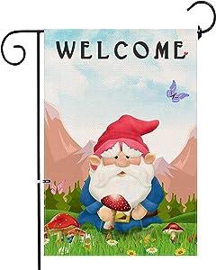 Hexagram Gnomes Garden Flag Burlap Double Sided Decorative Welcome Spring Yard Flag Prime