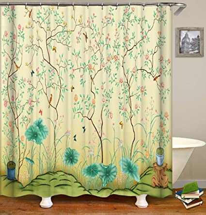 Livilan Spring Shower Curtain SetRomantic Inspiring Fresh LandscapeThick Polyester Fabric
