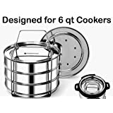 EasyShopForEveryone Stainless Steel 3 Tier Stackable Steamer Inserts - Compatible with Instant Pot in Pot Accessory 6 qt, Cheesecake Lasagna Pans, Pressure Cooker Accessories, Cook 3 Dishes at a time